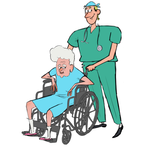 Patient in wheelchair with nurse behind